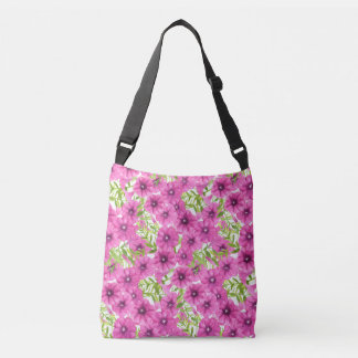 Pink watercolor petunia flower pattern crossbody bag