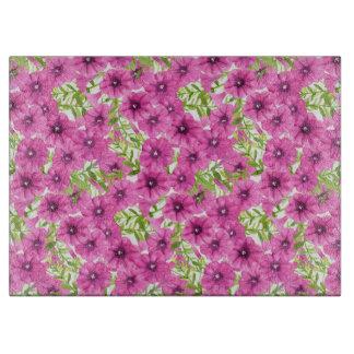 Pink watercolor petunia flower pattern cutting board