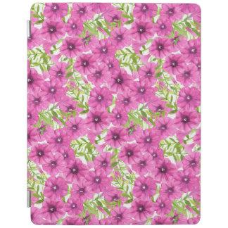 Pink watercolor petunia flower pattern iPad cover