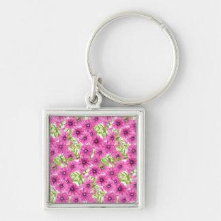Pink watercolor petunia flower pattern keychain