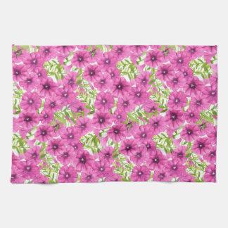 Pink watercolor petunia flower pattern kitchen towel