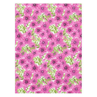 Pink watercolor petunia flower pattern tablecloth