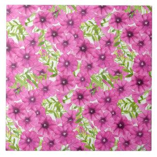 Pink watercolor petunia flower pattern tile