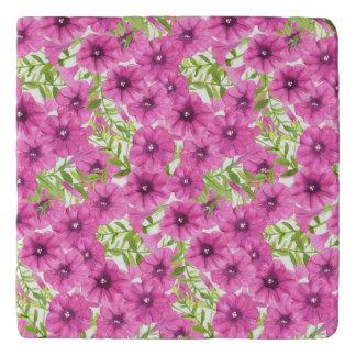 Pink watercolor petunia flower pattern trivet