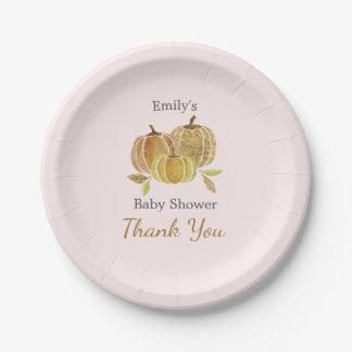 Pink Watercolor Pumpkin Fall Baby Shower Paper Plate