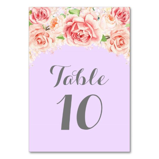 Pink Watercolor Purple Table Number Cards