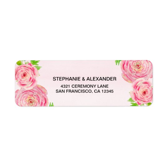 Pink Watercolor Ranunculus Address Labels