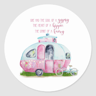 Pink Watercolor Retro Vintage Camper Glamper Classic Round Sticker