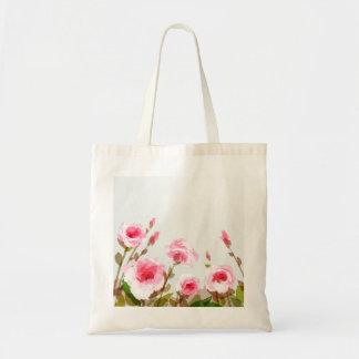 pink watercolor rose floral boho bloom budget tote bag