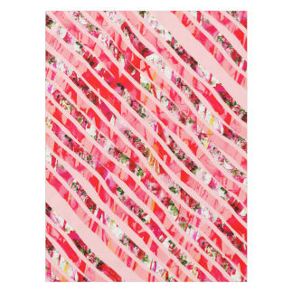 Pink Watercolor Rose Floral Brush Stroke Stripes Tablecloth