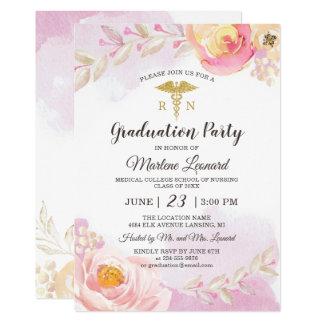 Pink Watercolor Rose Garden Nurse Graduation Party Card