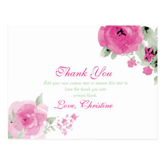 Pink Watercolor Rose, Thank You Cards Postcard