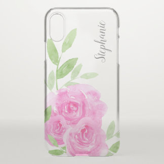 Pink Watercolor Roses Floral Personalized iPhone X Case
