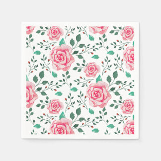 Pink Watercolor Roses & Green Foliage Pattern Paper Napkin