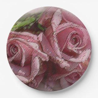 Pink Watercolor Roses Paper Plate