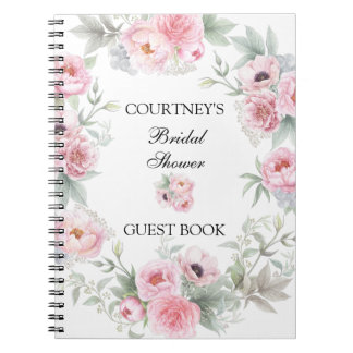Pink Watercolor Roses Peonies Poppies Guest Book