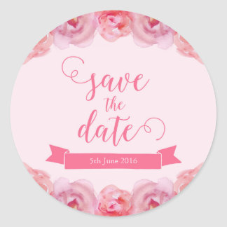 Pink Watercolor Roses Save the Date Round Sticker