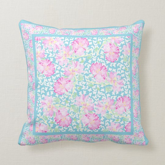 Pink Watercolor Roses, White Butterflies, Sky Blue Throw Pillow