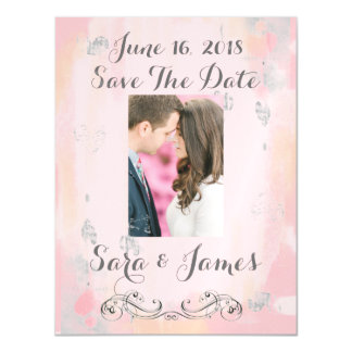 Pink Watercolor Save the Date Magnetic Card