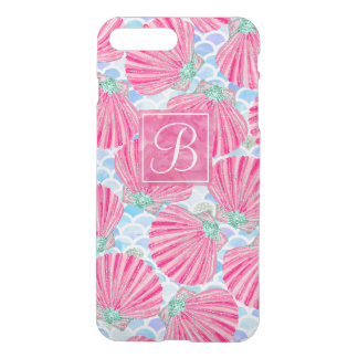 Pink Watercolor Shells Mermaid Scales Personalized iPhone 7 Plus Case