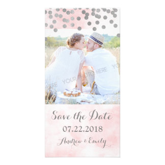 Pink Watercolor Silver Confetti Save the Date Photo Cards