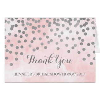 Pink Watercolor Silver Dots Bridal Shower Thanks Card