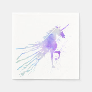 Pink watercolor splatters magical beauty unicorn disposable napkin