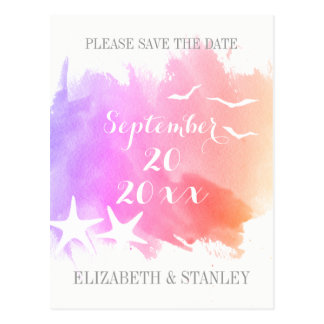 Pink watercolor, starfish wedding Save the Date Postcard