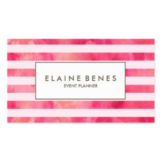 Pink Watercolor stripes elegant Business card