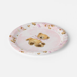 Pink Watercolor Strips and Brown Teddy Bear 7 Inch Paper Plate