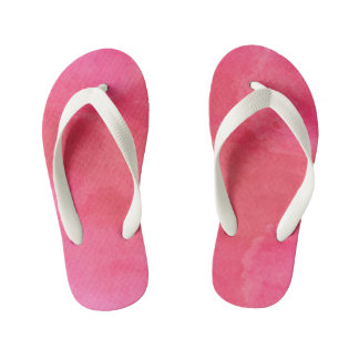 Pink Watercolor Texture Kid's Flip Flops