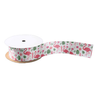 Pink watercolor tropical elegant flamingo floral satin ribbon
