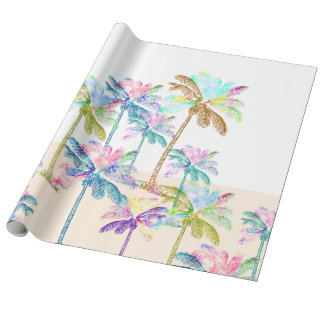 Pink Watercolor Tropical Hawaiian Palm Trees Wrapping Paper