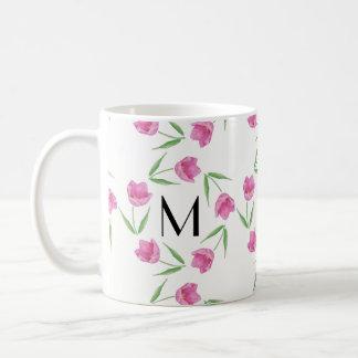Pink Watercolor Tulips Framing Initial Coffee Mug