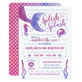 Pink Watercolor Under the Sea Mermaid Birthday Card