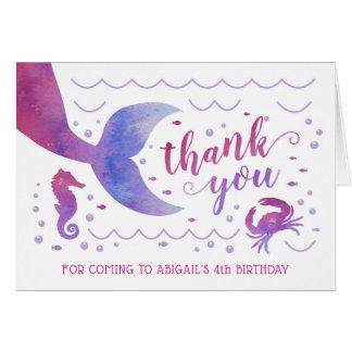 Pink Watercolor Under the Sea Mermaid Thank You Card