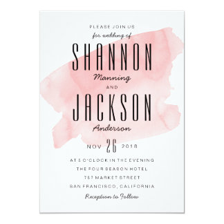 Pink Watercolor Wash Wedding Invitation