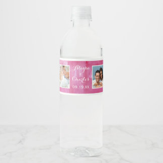Pink Watercolor Wedding Photo Collage Water Bottle Label