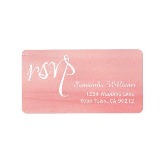Pink Watercolor Wedding RSVP Labels