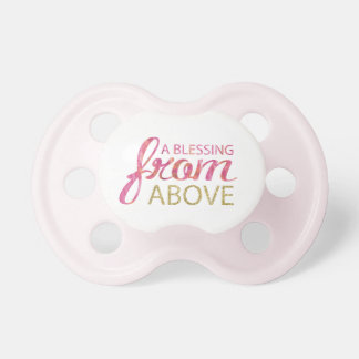 Pink Watercolor  with Gold Glitter Pink Back Pacifier