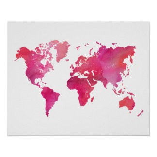 Modern world map posters zazzle canada pink watercolor world map poster gumiabroncs Gallery