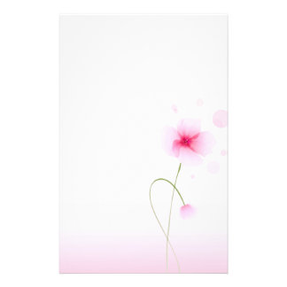 Pink Watercolored Flower Stationery