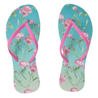 Pink Watercolour Roses Flip Flops