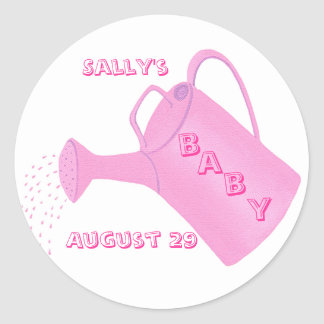 Pink watering can, baby shower stickers