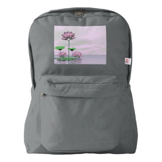 Pink waterlilies and lotus flowers - 3D render Backpack