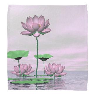 Pink waterlilies and lotus flowers - 3D render Bandana