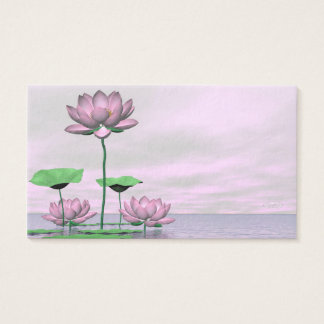 Pink waterlilies and lotus flowers - 3D render Business Card