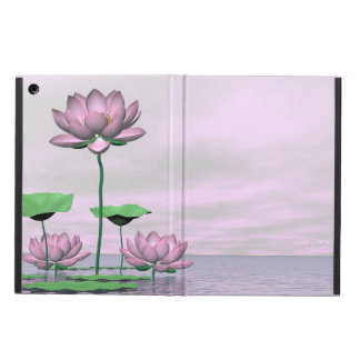 Pink waterlilies and lotus flowers - 3D render Cover For iPad Air