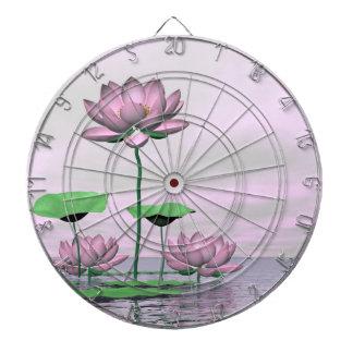 Pink waterlilies and lotus flowers - 3D render Dartboard