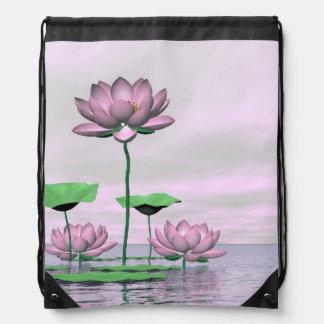 Pink waterlilies and lotus flowers - 3D render Drawstring Bag